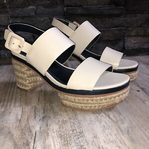 Tory Burch Jute Block Heel Solana Sandals leather Dolce De Leche Size 7.5m