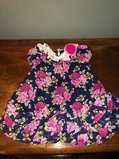Nanette Baby Pink Blue Floral Dress Size 12 Months
