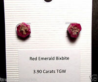 REAL AUTHENTIC BIXBITE EARRINGS RED BERYL ROUGH CRYSTALS From Wah Wah Mtn. Utah