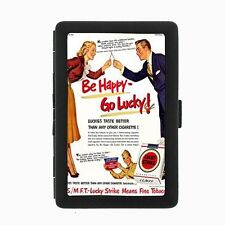 Lucky Strike Black Cigarette Case D55 Metal Wallet Vintage Cigarette Smoking Ad
