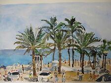 "FORT LAUDERDALE BEACH, FT LAUD., FL/WATERCOLOR PRINT/ 10"" x7"" /MIMI DAVIS,ARTIST"