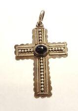 Vintage sterling Silver Cross Pendant Manly Black Onyx Medium Size