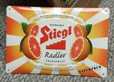 RARE 2015 Salzburger Stiegl Radler Grapefruit Beer tin raised sign EUC