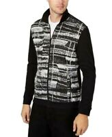Alfani Mens Sweater Black Size Large L Printed Front Full-Zipper $75 #582