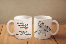 """Parson Russell Terrier - ceramic cup, mug """"Good morning and love"""", Usa"""