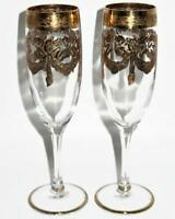 INTERGLASS Old World Vintage Design 24K Gold Encrusted Champagne Flutes Set of 2