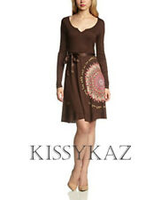 DESIGUAL Chocolate Brown & Pink Stretch Jersey MARTITA Dress Sequins XXL 18 BNWT