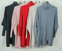 New PLUS SIZE Ladies Cowl Neck Dip Hem Italian Knitted Casual Ribbed Jumper Top