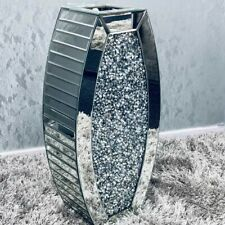 Diamond Crush Crystal Sparkly Silver Mirrored Floor Vase
