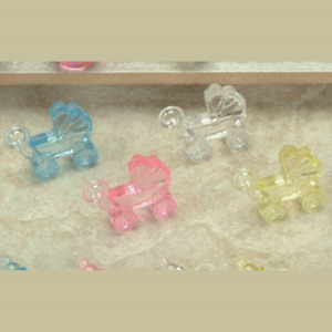 """Mini Acrylic 1-1/4"""" FLAT CARRIAGE Baby Shower Charm Choose Color & Pack Amount"""
