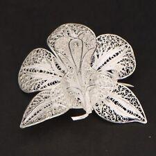VTG Sterling Silver - Filigree Flower Floral Brooch Pin - 8.5g