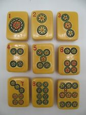 Rottgames Vintage Mah Jongg Set of 9 Circle Dot Tiles Bakelite Catalin