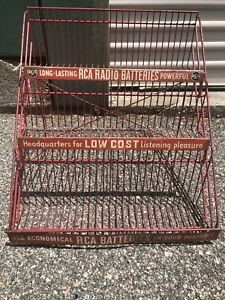 Vintage 1950's RCA Radio Batteries Red Metal Display Stand Sign Foldable
