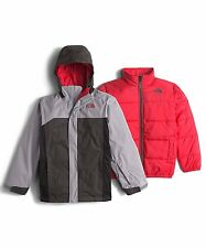 7152 The North Face Boys Gray Boundary TriClimate 2 Piece Parka Jacket Small S