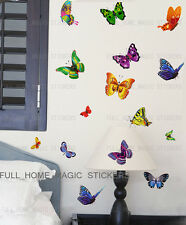 17 Multicolour Butterfly Wall Stickers Art Decal Transparent Vinyl Home Decor