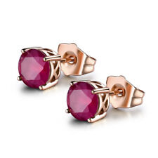 HUCHE Fashion 18K Rose Gold Filled Stud Sapphire Gemstone Women Wedding Earrings