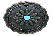 Antique Design Copper Finish Patina Turquoise Inset Belt Buckle