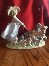 """Lladro 6784 Puppy Parade Girl Walking Dogs """"Mint"""" Retired"""