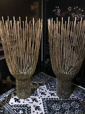"""MODERN PAIR Decorative Metal Candle Holders Large 18.5"""" TALL"""