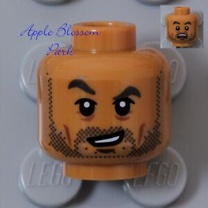 NEW Lego Medium FLESH MINIFIG HEAD w/Dark Brown Black Mustache Man Beard Hair