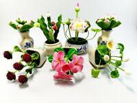 Clay Dollhouse Miniature Handmade Flower Tree Garden Plant Pot Jar Grave Decor