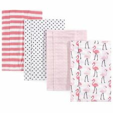 Hudson Baby Girl Flannel Burp Cloth, Flamingos, 4-Pack