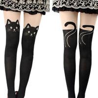 LC_ Mignon tatouage noir chausettes longues pur chat BD collants bas collants