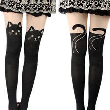 Cute Black Tattoo Long Socks Sheer Cartoon Cat Pantyhose Stockings Tights Noted