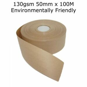 Reinforced Gummed 130g Packing Tape 50mm x 100M Water Activated Eco Friendly