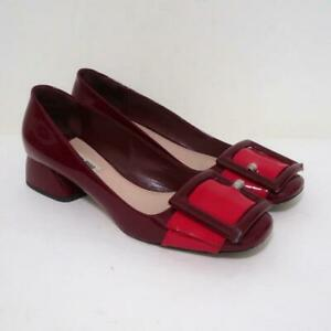 Miu Miu Buckled Loafer Pumps Burgundy Red Patent Leather Size 39 Low Heel