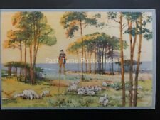 French Rural Country Scene SHEPHERD ON STILTS & SHEEP HERD by Superluxe Paris
