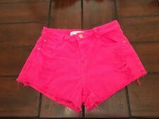 Women's Size 2 Pink Fuchsia Distressed Denim Mid-Rise ZARA Shorts w/Frayed Hem
