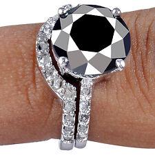 925 Sterling Silver Bridal Ring 6+Ct Black Moissanite/White Natural Raw Diamond