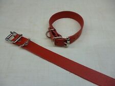 Dog Collar Plain Fire Red Real Leather Great Value 20mm 7/8 Medium Size W3F
