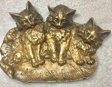 New listing Antique Bradley & Hubbard Bronze Cats Kittens Dish B&H 1640 Victorian Brass