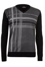 Mens Pierre Cardin V Neck Striped Checked Knitted Jumper Sweater Grey XL BNWT