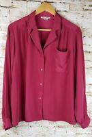 Hana Sung Womens SZ 10 Petite Red Blouse Shirt Long Sleeve Career Office