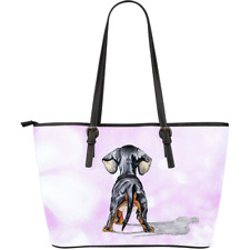 Dachshund Doxie Wiener Large Leather Tote Bag