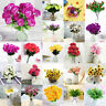 Silk Rose Artificial Flowers Bunch in Vase Bouquet Wedding Home Party Decor US