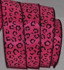 """Wired Ribbon~Glitz Hot Pink Leopard Spot~Jazz Safari~Wild Cat~1.5""""~Holiday~Bow"""
