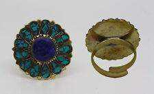 Stone Tribal vintage Nepal Rrt1 Tibetan Brass Ring Ethnic Handmade Turquoise