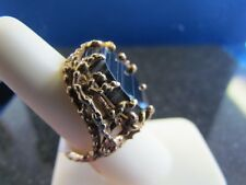14K YELLOW GOLD AGATE LADIES RING size 6.75