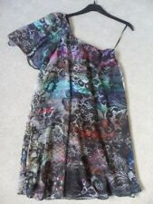EX NEXT PURPLE MIX FLORAL LINED FLOATY SHEER CHIFFON TUNIC SUN TEA DRESS 8 BN!
