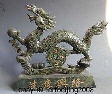China Green Jade stone handwork Carved Lucky Money Coin Yuan bao Dragon statue