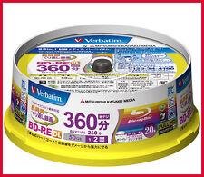 20 Verbatim 3D Bluray DVD DL Disc 50GB BD-RE Rewritable 2X ORIGINAL SPINDLE