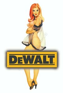 DEWALT TOOLS STICKER DECAL SILKY SEXY GIRL LABEL MECHANIC GLOSSY LABEL TOOL BOX