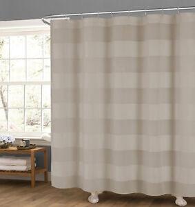 "Taupe Fabric Shower Curtain: Wide Stripe Design, 70"" x 72"""