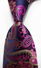 New Classic Paisley Blue Pink Gold JACQUARD WOVEN 100% Silk Men's Tie Necktie