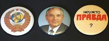 Vintage MIKHAIL GORBACHEV + PRAVDA TRUTH BUTTONS Lot Of 3 Soviet Perestroika