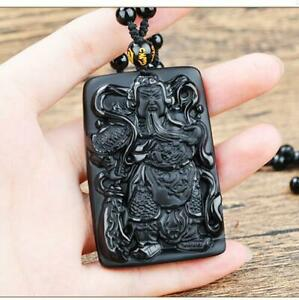 100% Natural Black Obsidian Fine jewelry    Amulet Jade statue New guanyu